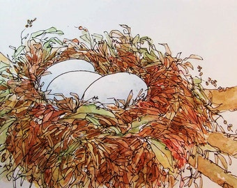 Original Watercolor Painting of Birds Nest with Eggs