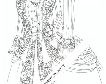 Printable Coloring Page - Victorian Garb