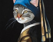 The Cat With The Pearl Earring - Fine art print of original anthropomorphic painting by Adriana Whitney