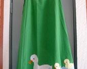 vintage 70s green duckling applique wrap maxi skirt