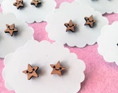Happy Star Earrings - Wood Bamboo Studs