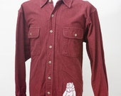 Men's Large Upcycled Flannel Shirt with Screen Printed Grizzly Bear
