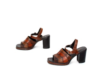 size 8 CHUNKY brown leather 90s PLATFORM PATCHWORK mules heel sandals
