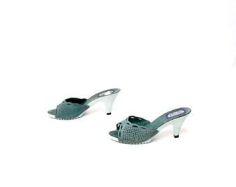 size 8 PLATFORM teal leather 60s 70s MULES peep toe resin CLOG heels