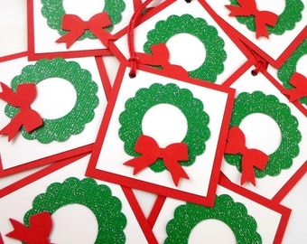 Christmas Tags - Christmas Favor Tags, Christmas Gift Tags, Christmas Wedding Tags - Red and Green Wreaths