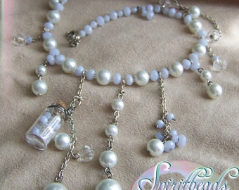 Pearl and Quartz Magic Sand and Chain Bridesmaid Wedding Necklace