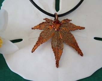 Leaf Necklace Copper,Maple Real Leaf, Leaf Pendant, Japanese Maple  Leaf, LL45