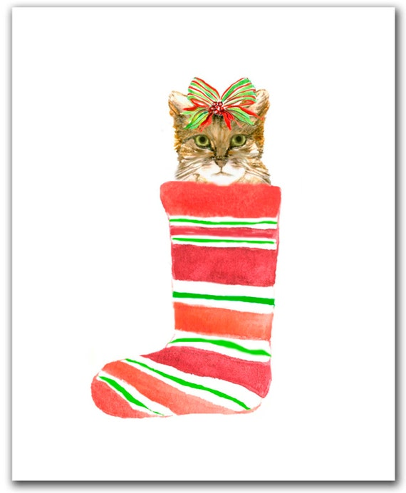 Cat in Christmas stocking Tabby cat Christmas cat cards Set