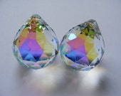 2 (two) Asfour AB German Crystal 30mm prism balls - flashy Aurora Borealis finish - Feng Shui - suncatchers - glass crafts