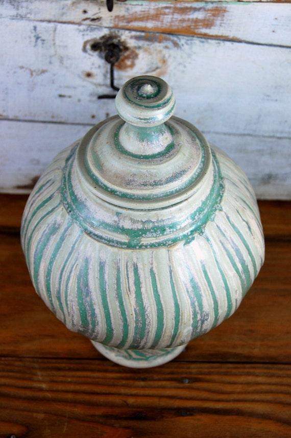 Emerald Green Lidded Jar or Cremation Urn