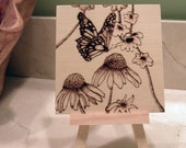 """Woodburned Butterfly and Flowers with Stand - 4""""x4"""" Pyrography"""