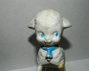 Vintage 1950's Mary Had A Little Lamb Plastic Toy, 3 Legged Bo Peep, Plastic Infant Baby Toy