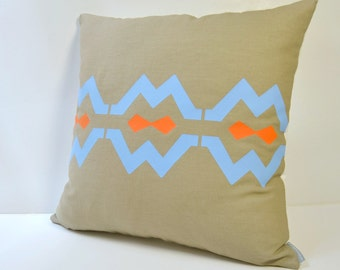 Tribal inspiration linen pillow cover with design in blue and orange