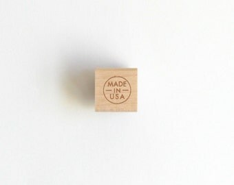 """Made In USA Rubber Stamp (Wood Mounted) Small Mini Stamp, perfect for packaging and labeling, 2 sizes available 1/2"""" or 1"""""""