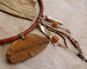 Fossil Fern Ceremonial Choker Necklace with Blister Pearls, Linen Fiber, Seed Pearls, and Czech Glass