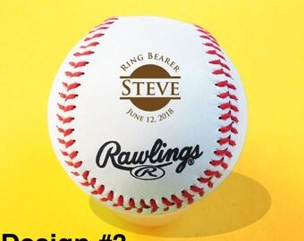 Ring Bearer Gift, Engraved Baseball, Groomsmen, Birthday, Christmas Gift