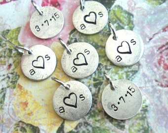 Mini Disc - 2 Words - Front & Back .. Create your own metal charm .. Monograms, Couples, Initials, Cute tags. silver, copper, gold finish