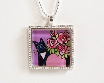 Tuxedo Cat Jewelry/ Glass Pendant/ Lavender with Pink Roses by Susan Faye