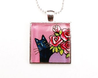 Black Cat Necklace/ Pet Art Jewelry in Pink by Susan Faye