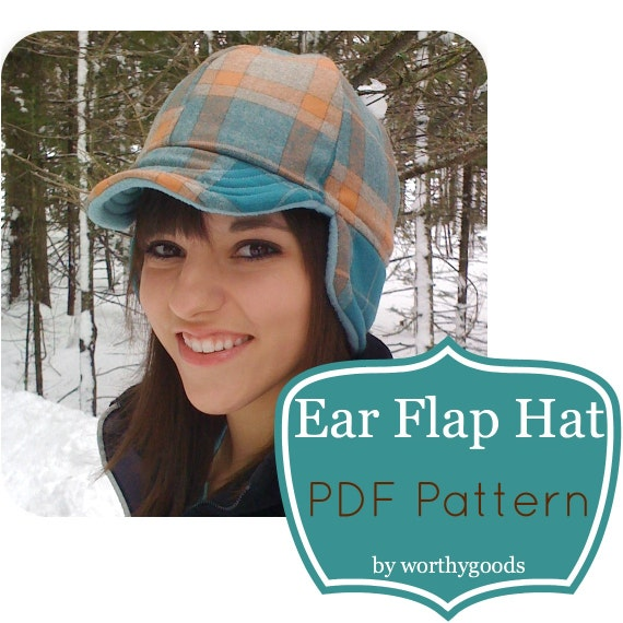 "Ear Flap Hat PDF Sewing Pattern - Warm Winter Style ""The County"" Cap - 3 Sizes Kids, Women's & Men's - Simple to Sew DIY"