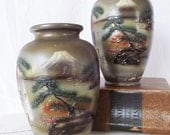 Vintage Pair of Vases - Asian Theme- Textured Signed - Terra Cotta Pottery