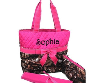 Diaper Bag Personalized Camouflage Natural Camo Hot Pink Quilted Monogrammed