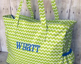 Personalized Diaper Bag Chevron Lime Green Blue Monogrammed