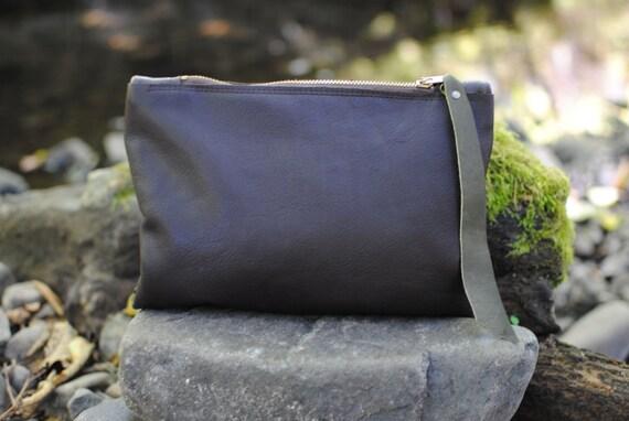 Walnut Brown Leather Clutch