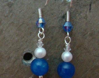 SALE Blue Jade, Natural Pearl and Crystal Drop Earrings                1.99 SHIPPING USA