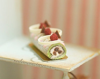 Dollhouse Cake - Matcha Green Tea Swiss Roll 1/12 Dollhouse Miniature Scale