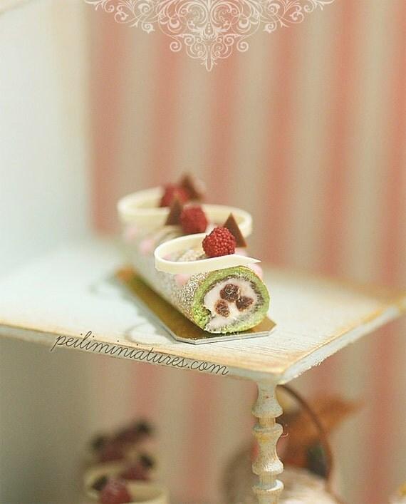 Dollhouse Cake - Matcha Green Tea Swiss Roll 1/12 Dollhouse Miniature ...