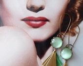 Dune II Earrings (SD0535) - Art Deco Style Earrings - Opal Green - Geometric Earrings - Vintage Style Earrings