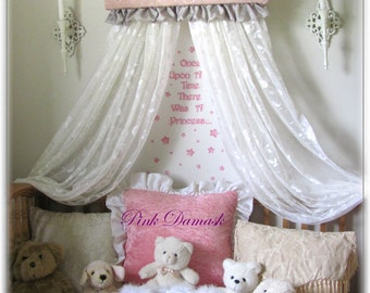 Crib BED RUFFLES Pink Damask GrAy nursery canopy cornice PERSONALIZED Embroider upholstered teester valance bedroom coronet & Crib canopy cornice FrEe PERSONALIZED Embroidered Blue Pink