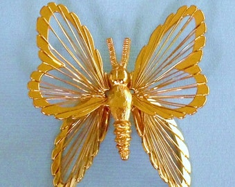 Wired Dimensional Butterfly Pin Vintage Brooch