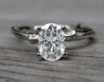 Oval Moissanite Twig Engagement Ring: Rose, White, Yellow Gold; Forever Brilliant ™