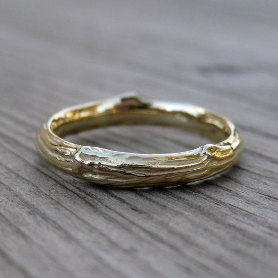 Twig Wedding Band: Yellow, White, or Rose Gold; 3mm wide; 14k or 18k