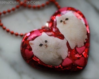 Jewelry - Glitter Heart Necklace,  Heart Kittens Pendant Resin Jewelry made with love - Sparkly Glitter, Cute Statement Necklace by isewcute