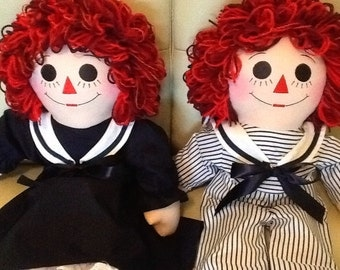 "25"" Sailor Outfit Raggedy Ann and Andy Dolls Set Handmade - 25 Inches"