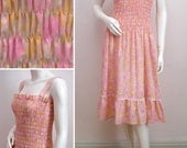 "Vintage Cotton Sun Dress 1970s Floral Shirred Summer Lace Luminous Retro Pink Flowers Boho Hippy Chic Bust 34"" UK 10 Size Small US 6"