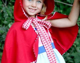 Little Red Riding Hood CAPE Storybook  red CAPE  for girls perfect to accent your Red Riding Hood costume