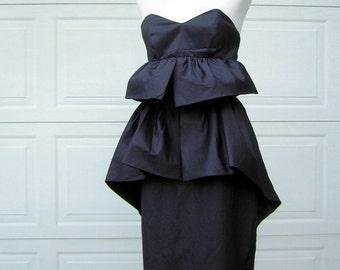 Vintage Avant Garde Black Strapless Cocktail Dress - Tiered Construction - Mr. K & Co. Sydney Size 12
