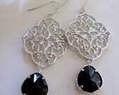 Black Teardrop with Silver Pendant Earrings, Oreintal Flower Design, Bridesmaid earrings, Gardendiva