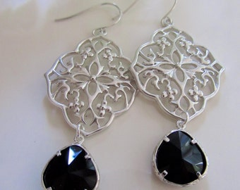 Silver Oriental Flower Design Earrings, Bridesmaid earrings, Black Glass Teardrop, dangle Drop, Gardendiva