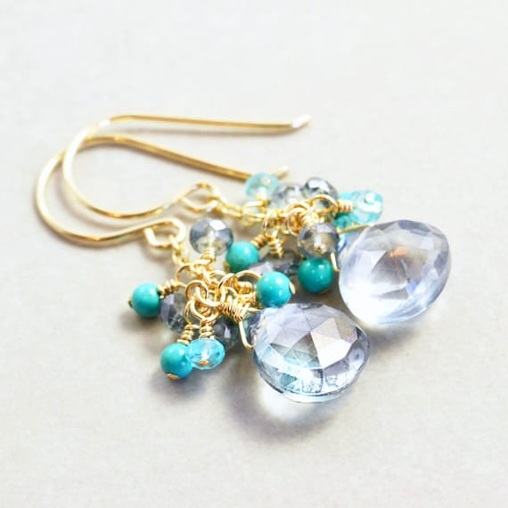 Grey Drop Earrings, Turquoise Cluster, Mint Dangle Earrings, Handmade