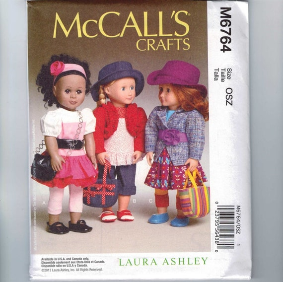 Doll Sewing Pattern McCalls M6764 American Girl Size 18 Inch Laura Ashley Outfit Dress Skirt Pants UNCUT