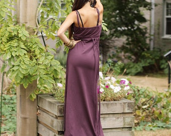 DIONYSES BOHEMIAN DRESS - Organic Boho Hippie Maxi Long Elegant Prom Wedding Party Couture Burning man Maternity Pregnant Plus size - Purple
