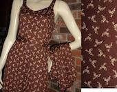Vintage 70s Diane Von Furstenberg S XS Sun Dress w Jacket or Top and Belt Italy Cotton Jersey DVF Initial Print