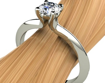 Diamond Engagement Ring in 14k Recycled Gold, Half Carat Solitaire SI2, Knife Edge Band - Free Gift Wrapping