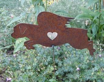 Rusty Finish Rottweiler Rottie Dog Angel Memorial Garden Art Stake