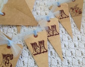 BIRTHDAY BANNER/ BUNTING - custom, vintage style banner with choice of font, ribbon and image